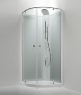 Sanka suihkukaappi BRIC 4 kirkaslasi(etu), frost  (takaseinä)  valkoinen 91×91