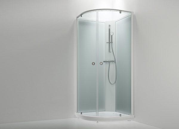 Sanka suihkukaappi BRIC 5 kirkaslasi(etu), frost  (takaseinä)  91×91